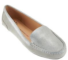 Add some stylish shine to your look with these Isaac Mizrahi metallic moccasins…