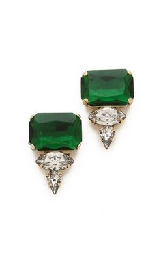 Crystal stud earrings. Love the emerald green.