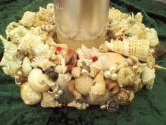 Pillar Candles with our beautiful centerpieces. All made right here on the Gulf of Mexico in Florida Seashell Centerpieces, Beach Wedding Centerpieces, Seaside Shops, Gulf Of Mexico, Southern Charm, Christmas Shopping, Wedding Themes, Pillar Candles, Sea Shells