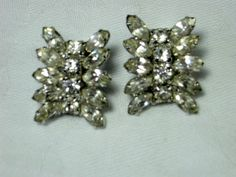 Vintage Rhinestone Earrings SPARKLY Clip Style by LavenderGardenCottag