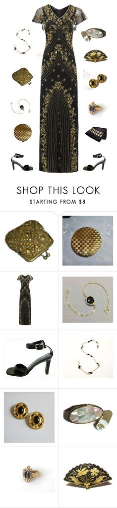 Black and Gold Glamour by kateduvall on Polyvore featuring Max Factor and vintage