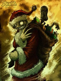 Claws zombie santa claus christmas artworks illustrations