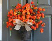 Fall Wreath, Fall Orange Wreath, Autumn Wreaths, fall home decor, front door decor, decorations, fall burlap bow, wreaths