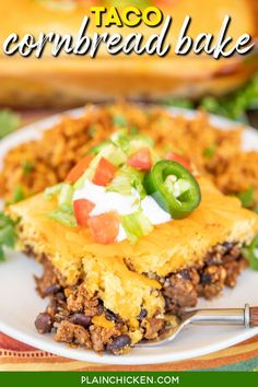 Taco Cornbread Bake - our favorite Mexican casserole! Super simple to make with only a few ingredients and bakes in about 20 minutes. Ground beef, taco seasoning, Rotel tomatoes, black beans, cheese, and Jiffy Mix. Top the casserole with your favorite taco toppings and serve with some Mexican rice or a salad. Taco Tuesday never tasted so good! Potluck Recipes, Easy Dinner Recipes, New Recipes, Crockpot Recipes, Baking Recipes, Favorite Recipes, Mexican Casserole, Casserole Recipes, Burrito Casserole