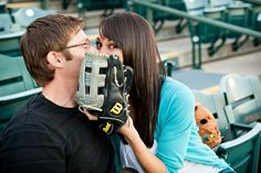 Baseball-Themed Engagement Photos - Wedding Information 2020 Baseball Engagement Photos, Themed Engagement Photos, Engagement Wishes, Engagement Couple, Engagement Pictures, Engagement Shoots, Engagement Photography, Pre Wedding Photoshoot, Wedding Pics