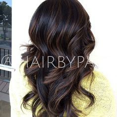 Long Curled Chocolate Brown Hair with Cinnamon Highlights ...