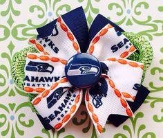 Seattle SeaHawks pinwheel hair bow on Etsy, $8.00