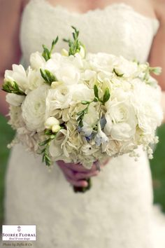 """Spring White Wedding Bouquet with a touch of """"something blue"""" from www.soireefloral.com"""