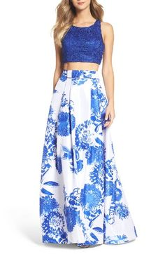 Free shipping and returns on Sequin Hearts Two-Piece Gown at Nordstrom.com. Lace and print flowers alike coordinate the fitted crop top and pleated ball skirt of this glam two-piece ensemble.