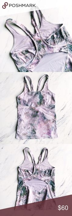 Lululemon Splatter Galaxy Mesh Racerback Tank Perfect condition, only worn once! Really great tank, super cool and eclectic. Comfortable and easy to move in. Perfect for spring and summer! lululemon athletica Tops Tank Tops
