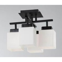 @Overstock - This flush-mount chandelier from Otis Designs features a sleek black finish with milk white shades. This modern four-light chandelier is the perfect addition to any decor.http://www.overstock.com/Home-Garden/Otis-Designs-4-light-Black-Flush-mount-Chandelier/5811461/product.html?CID=214117 $79.09