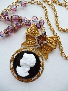 Amethyst Purple Beaded Cameo Necklace HUGE Glass by LaPlumeNoir, $86.00