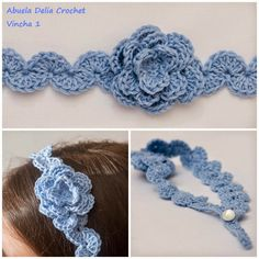 Crochet Flower Headbands, Crochet Headband Pattern, Crochet Motif, Crochet Designs, Hand Crochet, Crochet Flowers, Knit Crochet, Crochet Patterns, Baby Girl Crochet
