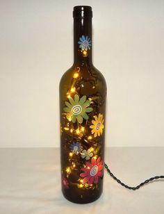 Retro Poder Wine reciclado Flor Garrafa Accent Lamp / Lite-IMPRESSIONANTE-grande ideia do presente