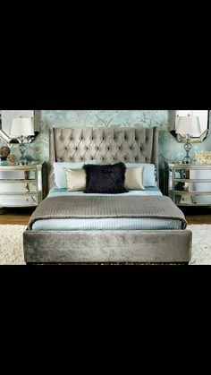 Hollywood glam tufted headboard in King size, dark Brown silk, just in. Come check it out.