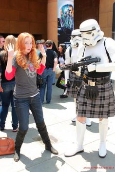 Scottish Stormtrooper and Molly Quinn Molly Quinn, Alexis Castle, Castle Tv Shows, Freckles Girl, Men In Kilts, George Lucas, Beautiful Redhead, Geek Girls, Famous Women
