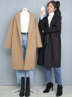 Korean Fashion Kpop, Korean Fashion Dress, Ulzzang Fashion, Korean Street Fashion, Korea Fashion, Asian Fashion, Modest Fashion, Japan Fashion Casual, Korean Winter Outfits