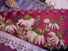 Wagonwife Designs: crazy quilting projects Garden Embroidery, Silk Ribbon Embroidery, Embroidery Patterns, Hand Embroidery, Quilt Patterns, Block Patterns, Flower Embroidery, Embroidery Stitches, Machine Embroidery