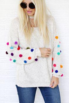 Pom Pom Sweater DIY – A Beautiful Mess