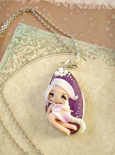 purple agate pendant doll