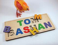 Personalized Colorful Name Puzzle - Laser Cut Wood Board Learning Game for Children on Etsy, $35.00