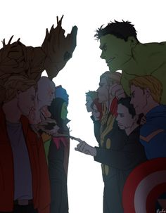 The Guardians of the Galaxy meet the Avengers