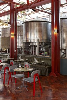 Completed in 2016 in Johannesburg, South Africa. Images by Micky Hoyle. Haldane Martin Iconic Design has designed a brewery and restaurant interior for Mad Giant beer that plays with scale referencing oversized metal toy. Pub Design, Brewery Design, Bar Interior Design, Restaurant Design, Craft Beer Shop, Brewery Interior, Beer Club, Cafe Concept, Hotel Interiors