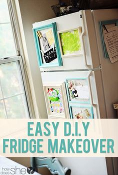 Easy DIY Fridge Makeover - great way to reduced cluttered look yet still display misc & kids artwork Fridge Makeover, Diy Spring, Displaying Kids Artwork, Do It Yourself Home, Organizer, Getting Organized, Home Organization, Organizing Crafts, Home Projects