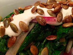 Ottolenghi's Swiss Chard with Tahini Yogurt and Buttered Nuts – Meet me @ the 'T' Vegetable Side Dishes, Vegetable Recipes, Hot Butter, Ottolenghi, Tahini, Original Recipe, Greek Yogurt, Great Recipes