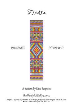 Fiesta loom pattern for a cuff bracelet by TheBeadyLittleEye, $4.50