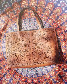 Handbag crush! Find this beauty online by searching Magic Carvings Bag. #altardstate #standoutforgood #totebag #beachbag