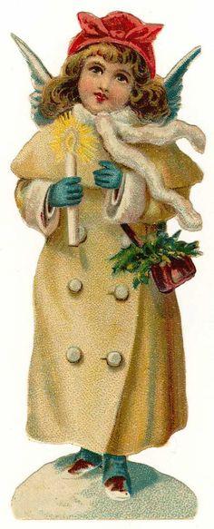 Vintage Christmas Angels Clip Art