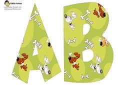 Alfabeto perros con huesos en fondo verde.