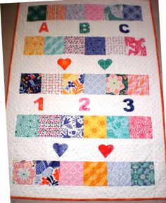 Baby patchwork applique hearts and numbers quilt, cot quilt, tummy time blanket, nursery quilt - pinned by pin4etsy.com