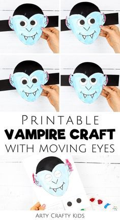 Looking for Halloween vampire crafts for kids to make at home or at school? These printable vampire crafts for kids are fun Halloween crafts for kids that feature moving eyes   they're simple for children to make with our printable craft template. Get templates   videos for these easy vampire crafts for kids   other paper Halloween crafts for kids here! Preschool Vampire Crafts for Kids | Easy DIY Vampire Crafts for Kids | Vampire Kids Craft | Halloween Crafts for Kids Vampire #VampireCrafts Halloween Crafts For Kids To Make, Spooky Halloween Crafts, Halloween Art Projects, Easy Crafts For Kids, Halloween Kids, Ghost Crafts, Spider Crafts, Vampire Kids, Easy Arts And Crafts