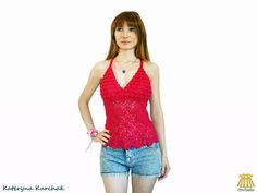 Items similar to Pink Top Crochet Transformer Hot Pink Fashion Beach Halter Top Romantic Lace Tassels Rose Red Rosered - Ready to ship! Hot Pink Fashion, Romantic Lace, Crochet Tops, Pink Tops, Red Roses, Tankini, Tassels, Beach, Swimwear