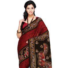 Dark Red Cotton Bengal Handloom Saree with Blouse