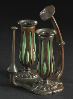 tiffany studios two-branch candel     object     sotheby's