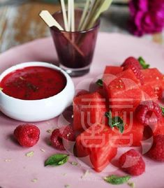 Chef Ching-He Huang's Watermelon Skewers Dipped in Lime & Berry Coulis
