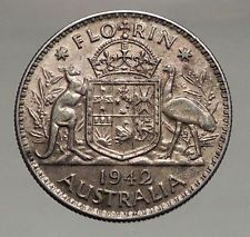 1942 AUSTRALIA - FLORIN Large SILVER Coin King George VI Coat-of-Arms i56697