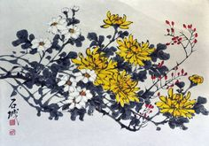 "Saatchi Art Artist jeremy Yong; Painting, ""Korean Water Color painting Chrysanthemum Flower Signed"" #art"