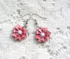 Origami Earrings   Pink Paper Earrings  by PaperImaginations