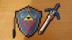 Hylian Shield and Master Sword decor perler beads by PixelationSensations