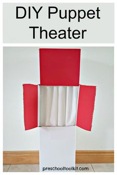 A homemade puppet theater is easy to make from a cardboard box. This simple project is fun for the whole family and provides awesome opportunities for kids pretend play. Homemade Puppets, Easy Projects, Sewing Projects, Craft Stick Crafts, Paper Crafts, Diy For Kids, Crafts For Kids, Small World Play, Pinking Shears