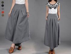 5 Colors Women Light Gray Linen Skirt Pants Long by MordenMiss, $49.00