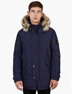 Stone Island Blue Micro Reps Down-Filled Hooded Parka | oki-ni
