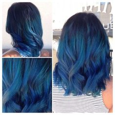 DIY Hair: 10 Blue Hair Color Ideas Mix things up with one of these 10 different ideas for dying blue Best Ombre Hair, Brown Ombre Hair, Blue Ombre, Ombré Hair, Dye My Hair, Emo Hair, Beautiful Hair Color, Cool Hair Color, Hair Colors