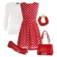 С чем носить красные балетки: красное платье в белый горошек и белая кофта