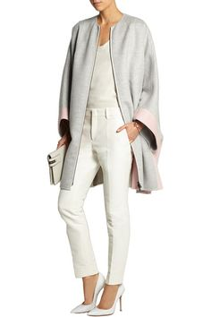 Light-gray and pale-pink cashmere-felt  Two-way zip fastening through front  100% cashmere  Dry clean
