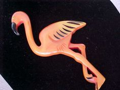 RARE BAKELITE FLAMINGO PIN WITH PINK OVERWASH